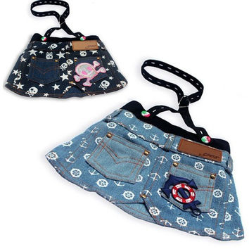 Spring Time Anchor Printed Denim Skirt for Cute Dog Fashion & Pet Clothes SIZE S-Color Light Blue