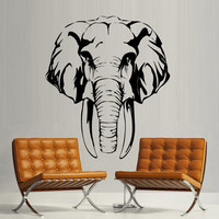 Wall decal art decor decals sticker Elephant Wild Animal trunk head tusks Indian Bedroom office Mural Home Interior Design Art gift (m1302)