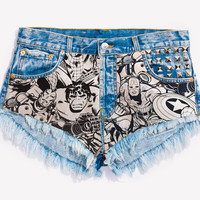 RWDZ x MARVEL Attack Studded Shorts