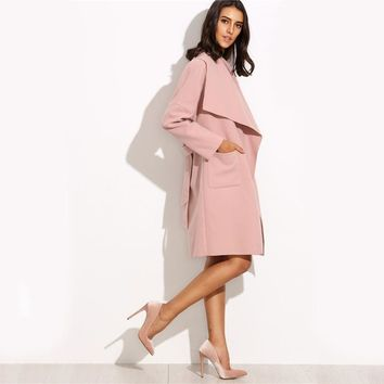 Pink Drop Shoulder Drape Collar Wrap