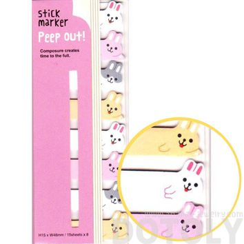Bunny Rabbits Shaped Memo Post-it Peek Out Sticky Tabs | Animal Themed Stationery