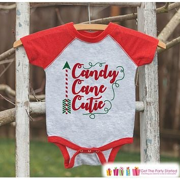 Girls Christmas Outfit - Candy Cane Cutie Christmas Shirt or Onepiece - Holiday Outfit for Baby Girl, Toddler, Youth - Sibling Shirts