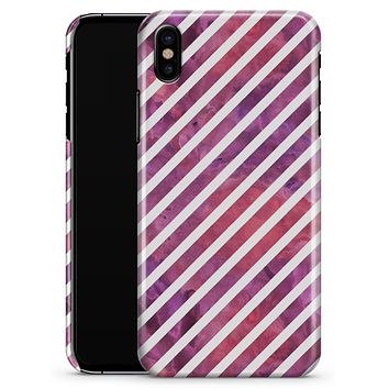 White Slanted Lines Over Pink and Purple Grunge Surface - iPhone X Clipit Case