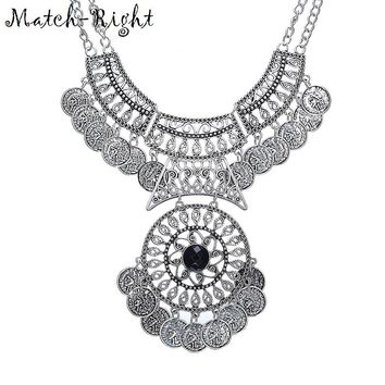 Match-Right Gypsy Bohemian Vintage  Coin Turkish Beachy Bib Statement Necklace Women Necklaces & Pendants Jewelry Colar
