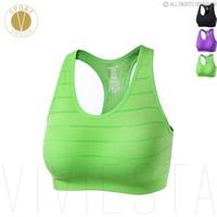Seamless Striped Sports Bra - Women's Yoga Gym Training Workout Running High Support Bra Top Underwear Sportswear Activewear