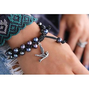 Pearl & Leather Bracelet with Sterling Silver Bird Charm