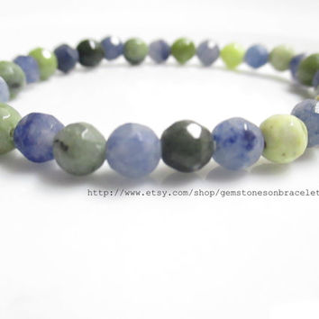 Gemstone Stretch Bracelet, Blue Aventurine Stretch Bracelet, Jungle Jasper Stretch Bracelet