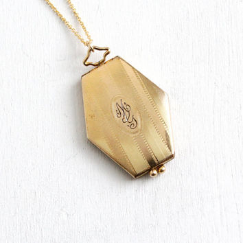 Antique Art Deco 10k Gold Filled Hexagonal Locket Necklace - Vintage 1920s 1930s Linear Etched & Monogrammed MG Jewelry