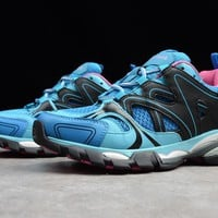 "Balenciaga -Track Outdoor Men Women Running Sneaker ""Blue&Pink"" W06E1-3325"