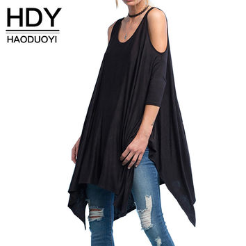 HDY Haoduoyi 2016 Women New Fashion Sexy Off Shoulder Casual Loose Asymmetrical Street Style Batwing Sleeve Slim Summer T-Shirt