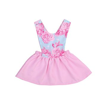 Baby Girls Dress Summer Beach Style Floral Print Party Backless Dresses For Girls Vintage Toddler Girl Clothing