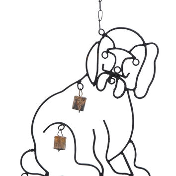 Metal Wind Chime With Sculpted Dog Image