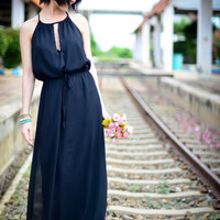 Black Chiffon  Maxi Dress, Long Black Dress