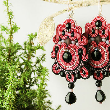 Long soutache earrings, red chandelier earrings, red earrings, dangle earrings, soutache jewelry, coral statement earrings
