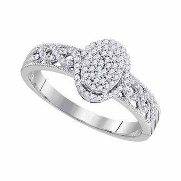 10kt White Gold Womens Round Diamond Oval Cluster Milgrain Twist Bridal Ring 1/4 Cttw