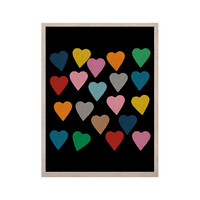 """Project M """"Hearts Colour on Black"""" KESS Naturals Canvas (Frame not Included)"""