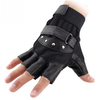 Men Fingerless Gloves Wrist Half Finger Glove Unisex Adult Fingerless Mittens PU Leather male Gloves
