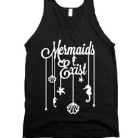 Mermaids Exist (Dark)-Unisex Black Tank