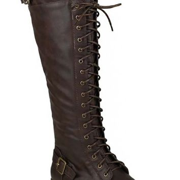 Brown Buckled Combat Lace Up Lug Sole Knee High Vegan Leather Boots