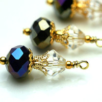 Gunmetal and Gold Bead Drop Dangle Charm Set - 4 Pieces