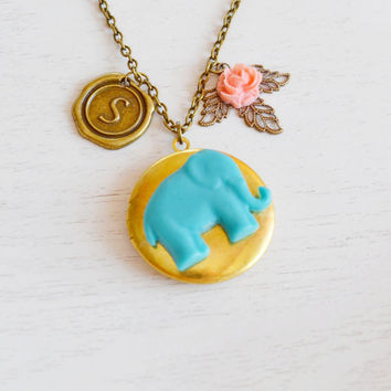 Good Luck Elephant Locket Necklace,Coral Pink Flower Turquoise Elephant Jewelry,Locket Jewelry,Gold Brass Round Locket, Locket Pendan