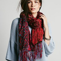 Free People Womens Patchwork Leather Fringe Scarf