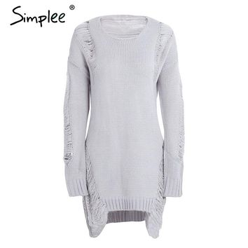 Sexy hollow out knitting pullover Fashion winter sweater women Side high split hole black jumper pull