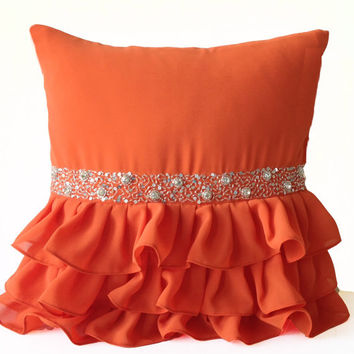 Orange Ruffled Sequin Throw Pillow -18x18 Decorative Pillow -Orange Cushion Cover -Gift Pillow -Crystal Pillow -Silver Sequin Ruffles Pillow