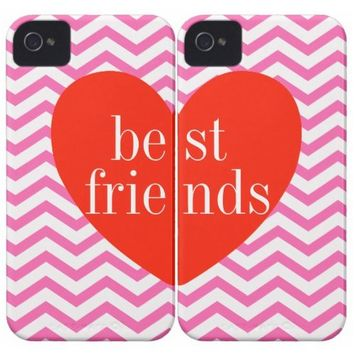 iPhone 4/4S Chevron Pink Best Friends Matching Cases from Zazzle.com