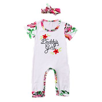 Summer Baby Girl Floral Romper Short Sleeve Patchwork Jumpsuit Clothes Outfits Costume With Headband