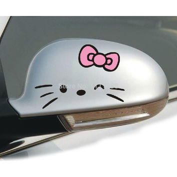 2 x Funny Hello Kitty Car Stickers Car Decal 14 X 11 CM for Toyota Chevrolet Volkswagen Hyundai Kia Lada