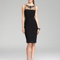 Adrianna Papell Beaded Illusion Neckline Dress - Sleeveless | Bloomingdale's