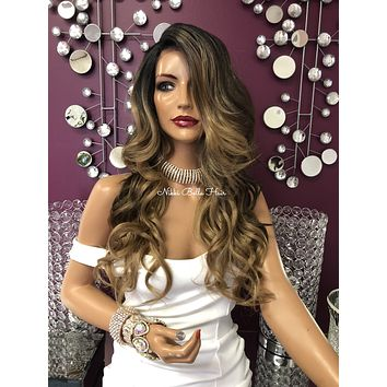 Balayage Highlights Ombré Brown Blond Lace Front Wig 22"