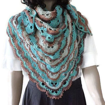 Triangle Crochet Shawl - Virus Shawl -   Handmade Shawl - Casual  Shawl -  Spring & Summer Shawl