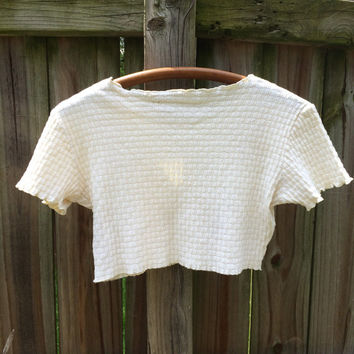 70s VINTAGE CROP TOP, textured & ruffled