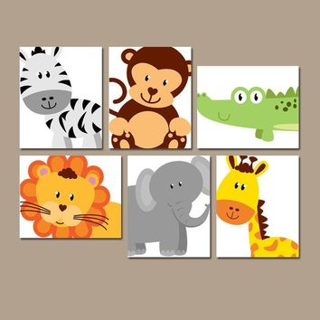 SAFARI ANIMALS Wall Art, JUNGLE Theme Nursery Decor, Zoo Animals, Baby Boy Nursery Decor, Canvas or Prints, Playroom Wall Art, Set of 6