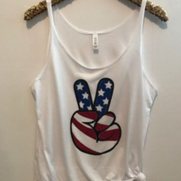 Peace - American Flag - Slouchy Relaxed Fit Tank - Ruffles with Love - Fashion Tee - Graphic Tee