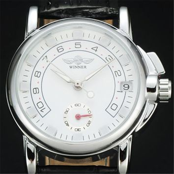 Luxury Brand WINNER Women's Fashion Silver Steel Case Clover Auto Date Automatic Mechanical Genuine Leather Strap Dress Watches