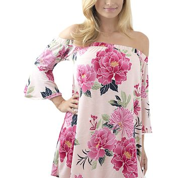 Women's Floral Print Off Shoulder Dress with Bell Sleeves