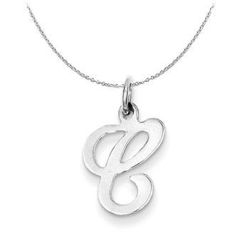 Sterling Silver, Sophia Collection, Small Script Initial C Necklace