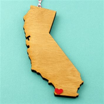 Custom Wood State Ornament - Spiffing Jewelry