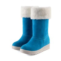 2017 Winter Boots Big Size 34-43 Women's Shoes Gladiator Winter Snow Boots Fashion High Long Low Heel Marti Ladieskeep Warm 583