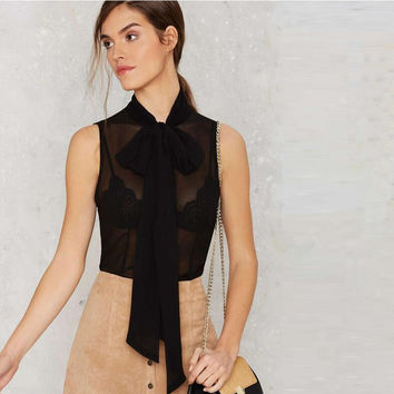 Black Bow Lace Chiffon Sleeveless Blouse