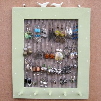 JEWELRY DISPLAY RACK Organizer / Light green / 25 - 40 Earrings / 20 - 30 Necklaces