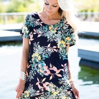 To Love Is to Fly Floral and Striped Tunic Navy