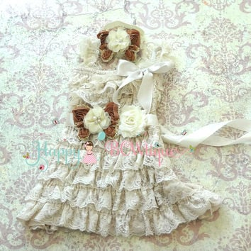 Rustic Flower girls dress/ Champagne Butterfly Girl's Lace Dress set