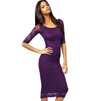 Sexy Scoop Neck Three Quarter Sleeve Pure Color Sheath Lace Bottom Dress for Ladies