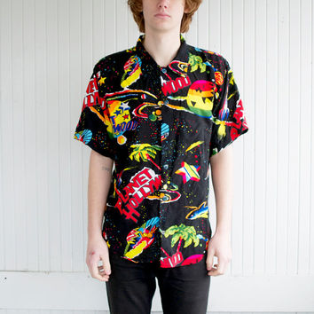 Planet Hollywood Galaxy Print Hawaiian Button Up Shirt