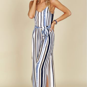 Striped V-Neck Tank Jumpsuit Navy