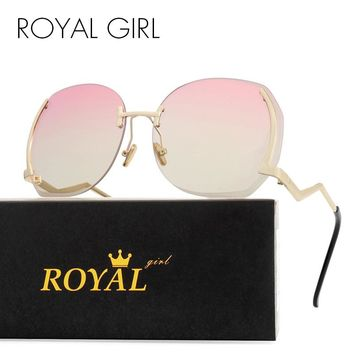 Royal Girl Unique Rimless Women Sunglasses Oval Oversized Cutting Lens Gradient Clear Lens ss144